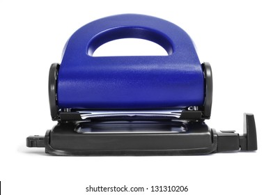 closeup of a blue two-hole hole punch on a white background