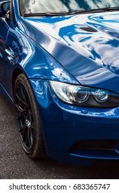Close-up of BMW M3 interlagos blau color.  Drift championship in Logoisk, Belarus. July 23, 2017.