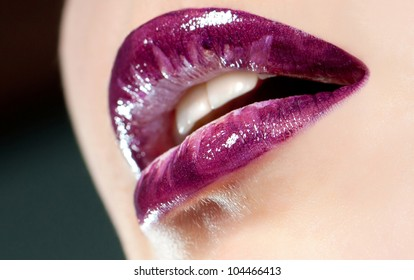 close-up body part portrait of beautiful woman's lips bright  make up