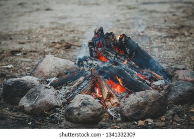 Closeup of bonfire in the wood