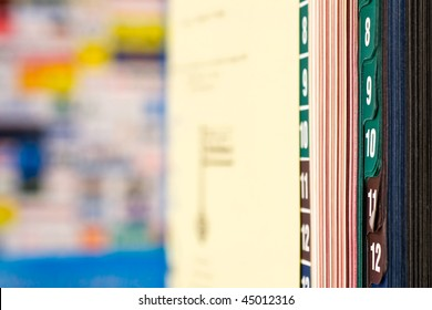 Closeup of book with colored tabs
