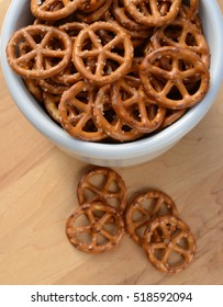 Closeup of a bowl full of small round pretzels