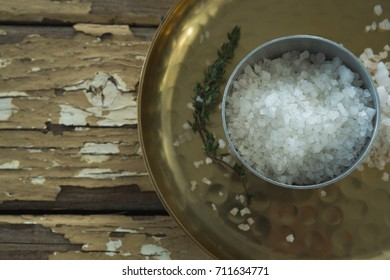 Close-up of bowl of salt in a plate