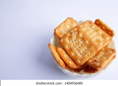 closeup bowl of tuc biscuits indoor
