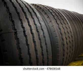 closeup of brand new truck tires