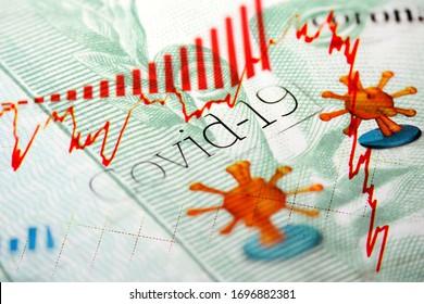 Gros plan sur un vrai billet de banque brésilien avec les titres du journal Corona / Covid-19 et la tendance à la baisse du marché financier