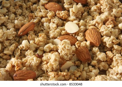 Closeup of breakfast cereal corn flakes with almonds