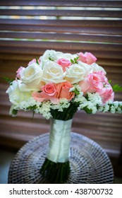 close-up of bridal bouquet of roses for wedding day.