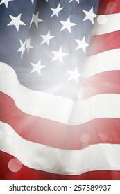 Closeup of bright American flag