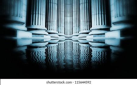 Close-up of a bright classical pillar