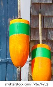 Closeup of bright orange fishing buoys