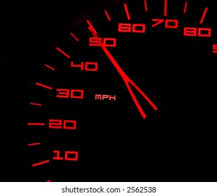 Closeup of bright red numbers on a car speedometer against a black background