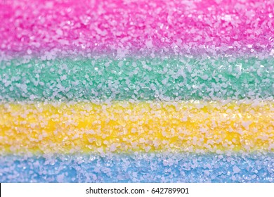 Closeup of bright tasty sour sweet candy texture, background