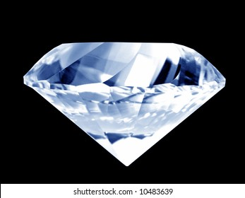 Close-up of a brilliant blue diamond (isolated on pure black background)