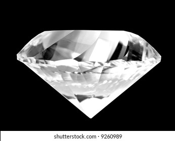 Close-up of a brilliant white diamond (isolated on pure black background)