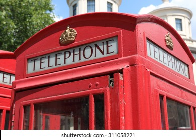 Closeup of a british red telephone box or booth