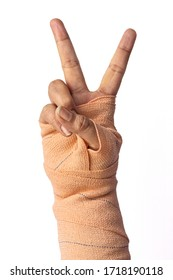 Close-up of broken female wrist victory gesture, strong, winner sign.