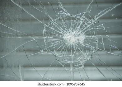 closeup of broken glass texture