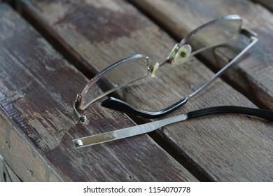 Closeup broken glasses