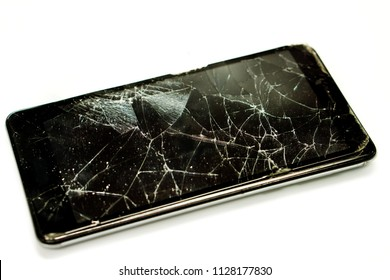 Closeup broken and pull down of black mobile phone isolate on white background.