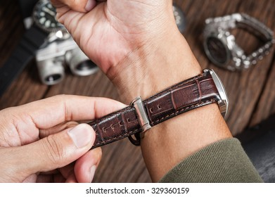 closeup brown leather watch band