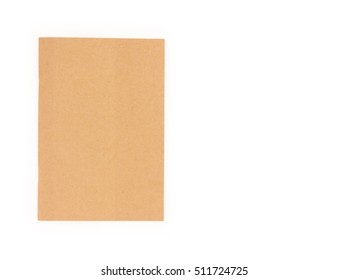 Closeup brown notebook color on white background
