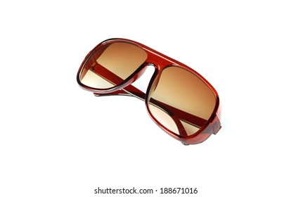 closeup brown sunglasses isolated on white background.