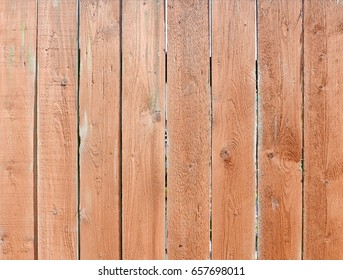 Closeup of brown wood plank fence