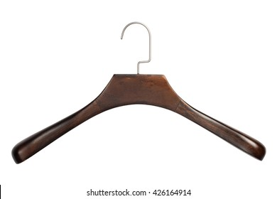 Closeup of brown wooden clothing hanger isolated over white background