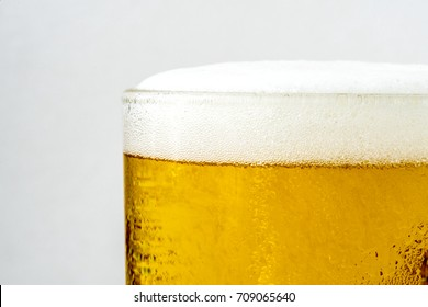 Closeup of bubble beer in a glass