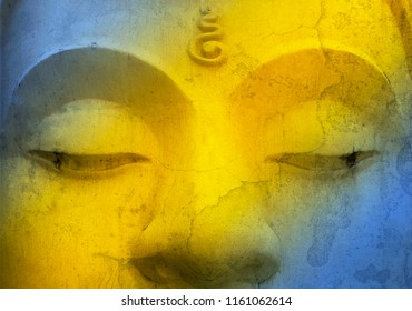 Closeup Buddha image face with vintage filter effect, Symbol of Buddhism