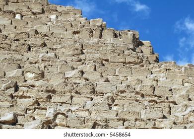 Closeup of building blocks of Giza Pyramids