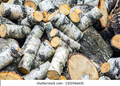 closeup of a bunch of birch firewood harvested for the winter. The firewood is packed and prepared for the winter. wood background