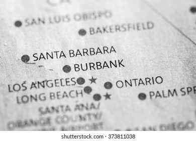 Closeup of Burbank, California on a map of the USA.
