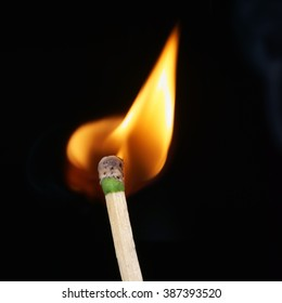 Close-up of a burning matchstick, isolated on black background.