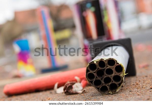 Close-up of a burnt firecracker