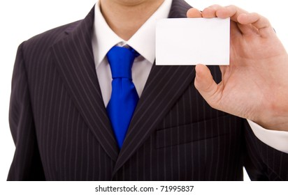Close-up of business card in business man?s hand