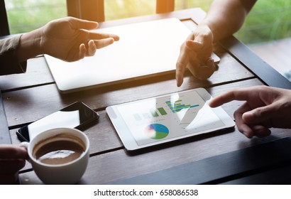 close-up business group meeting show analysis graph on tablet device