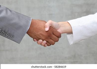 closeup of business handshake
