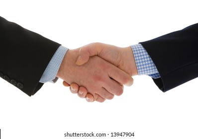 Close-up of a business handshake isolated on a white background. Conceptual image