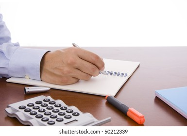 Close-up of a business man hand writing