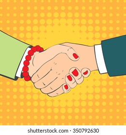 Close-up of Business People Shaking Hands. Illustration in retro style. Pop art business concept.