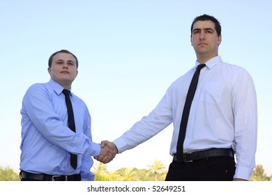 Closeup of business people shaking hands over a deal on nature background