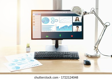Close-up Of Business Video Conferencing On Laptop At Desk In Office. work from home concept