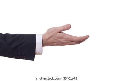 closeup of a businessman arm who extends his hand