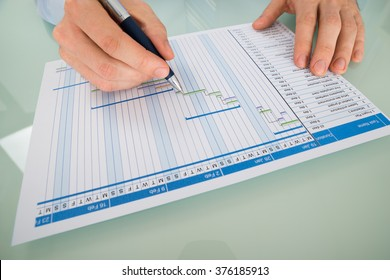 Close-up Of A Businessman With Pen Working On Gantt Chart