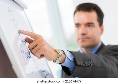 Close-up of businessman pointing at the bulb on the flipchart as a symbol of new idea