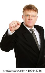 Closeup of a businessman pointing at you , isolated on white background