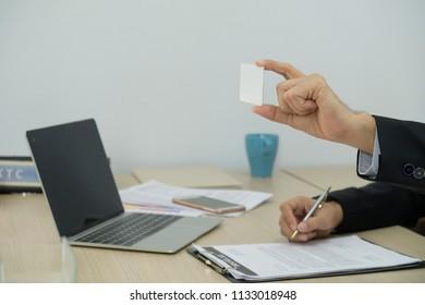 CloseUp Businessman show the smartcard