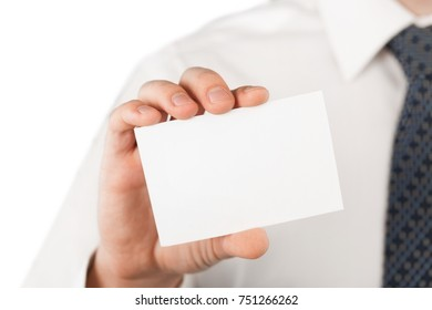 Closeup of a Businessman Showing a Blank Business Card